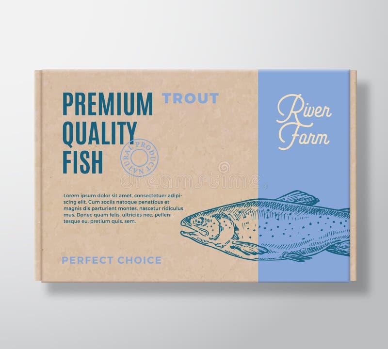 Realistisk kartong för högvärdig kvalitets- fisk Design eller etikett f?r abstrakt vektor f?rpackande Modern typografi, dragen ha stock illustrationer