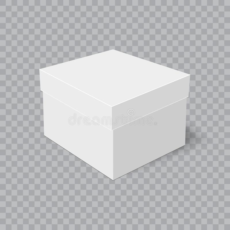Realistisk kartong med mjuk skugga på genomskinlig bakgrund vektor vektor illustrationer