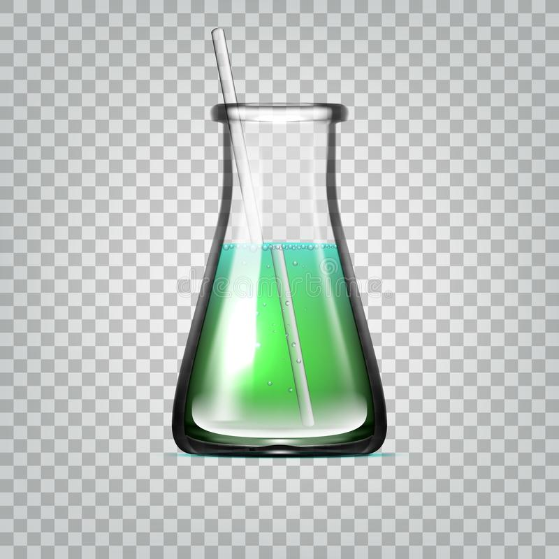 Realistisk kemisk laboratoriumglasföremål eller genomskinlig exponeringsglasflaska för dryckeskärl med grön flytande stock illustrationer