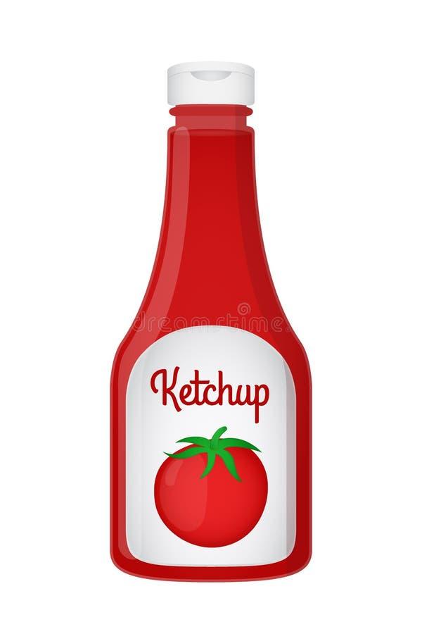 Realistisk ketchupflaska för vektor 3d Röd tomatsås, genomskinligt exponeringsglas royaltyfri illustrationer