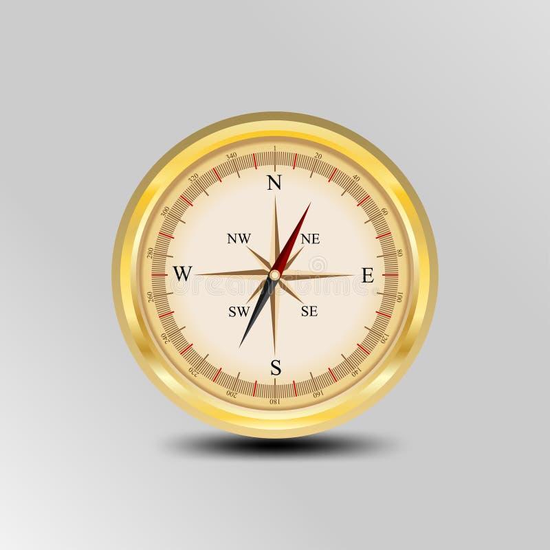 Realistisk kompassdesign som används för översiktsriktningsnavigering Guld- lutningfärg royaltyfri illustrationer
