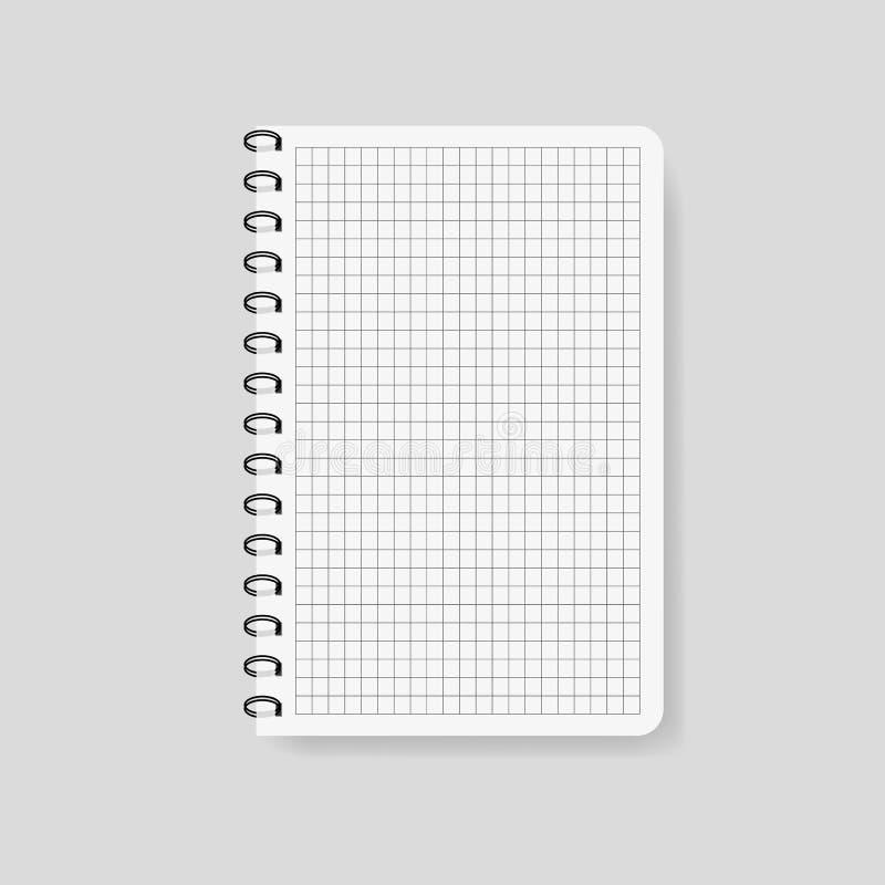 Realistisk kontrollerad anteckningsbok i modellstil Tom notepad med spiral Mall av den tomma notepaden på isolerad bakgrund Noter stock illustrationer