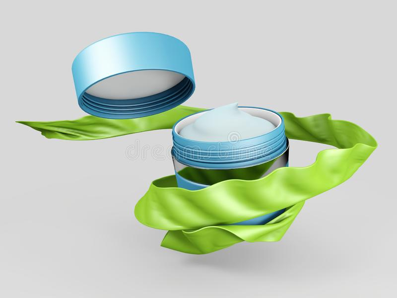 Realistisk kosmetisk krus på en vit bakgrund Kosmetisk packesamling för den kräm- illustrationen 3d stock illustrationer