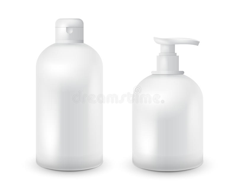 Realistisk kosmetisk packe för uppsättning för flaskåtlöje upp på vit bakgrund Kosmetisk märkesmall Schampo- och tvålpacke arkivbilder