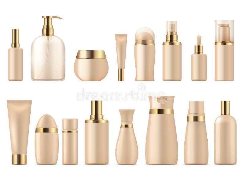 Realistisk kosmetisk packe Guld- för modellschampo för skönhetsprodukt 3D pump för lotion för flaska Lyxig packevektormall vektor illustrationer