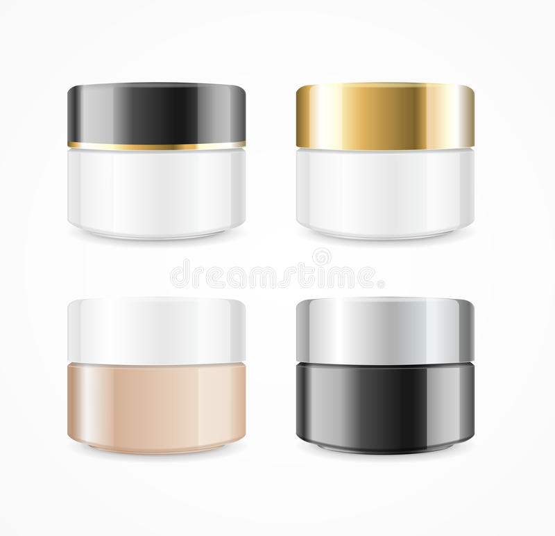 Realistisk kräm kan den kosmetiska produktuppsättningen vektor royaltyfri illustrationer