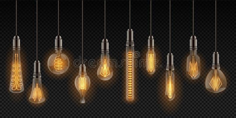 realistisk kulalampa Tappninglampor som hänger på trådar, glödande retro objekt för garnering Glödande glödtråd för vektor vektor illustrationer