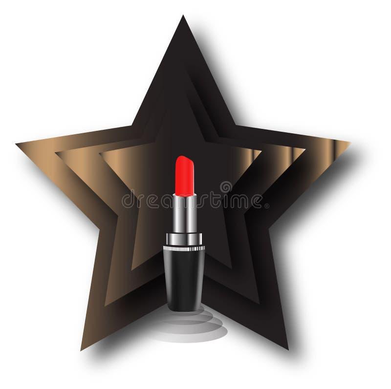 Realistisk läppstift som är röd på en vit bakgrund royaltyfria bilder