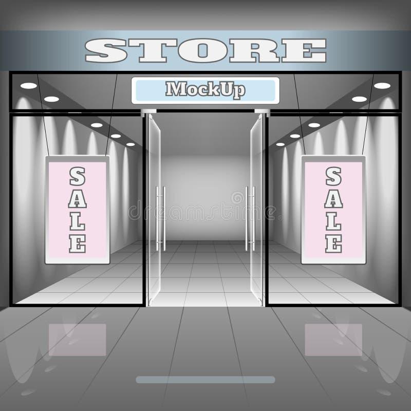 Realistisk lager- eller kontorsinremall Boutiqueillustration med shopwindowen, hyllor, baner royaltyfri illustrationer