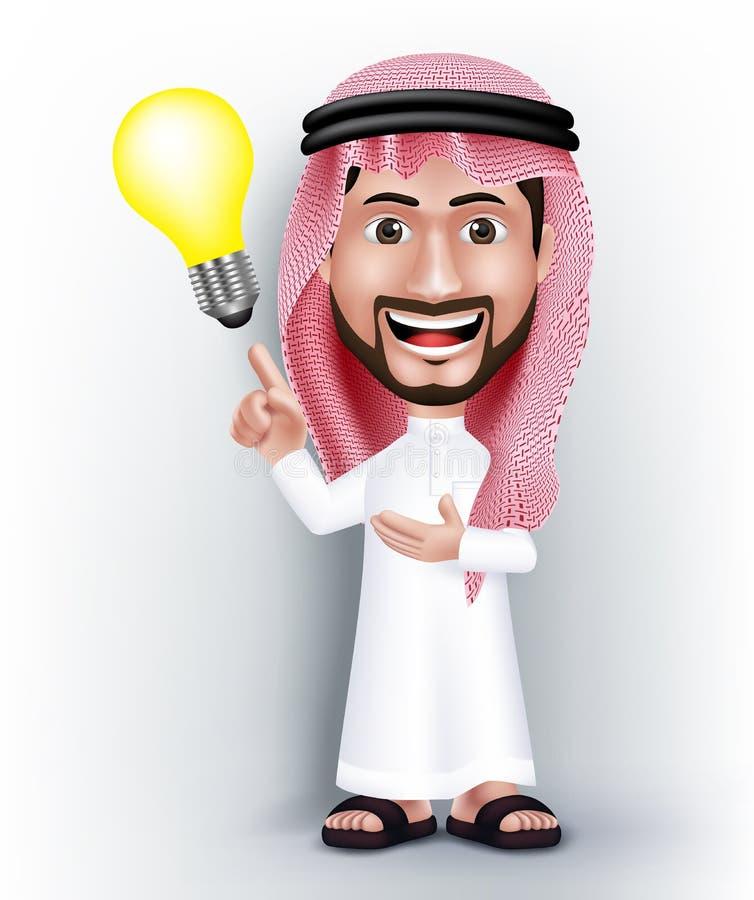 Realistisk le stilig saudier - arabiskt mantecken royaltyfri illustrationer