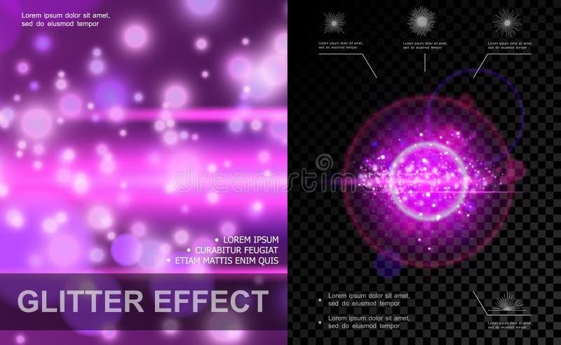 Realistisk lilamall för ljusa effekter royaltyfri illustrationer