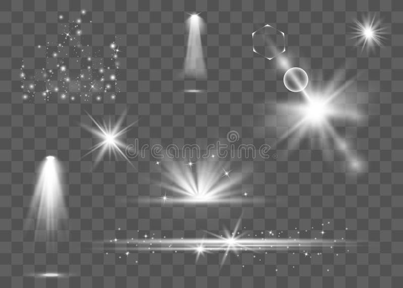 Realistisk linssignalljusuppsättning vektor illustrationer