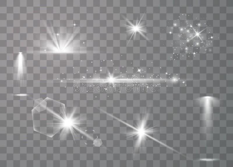 Realistisk linssignalljusuppsättning royaltyfri illustrationer