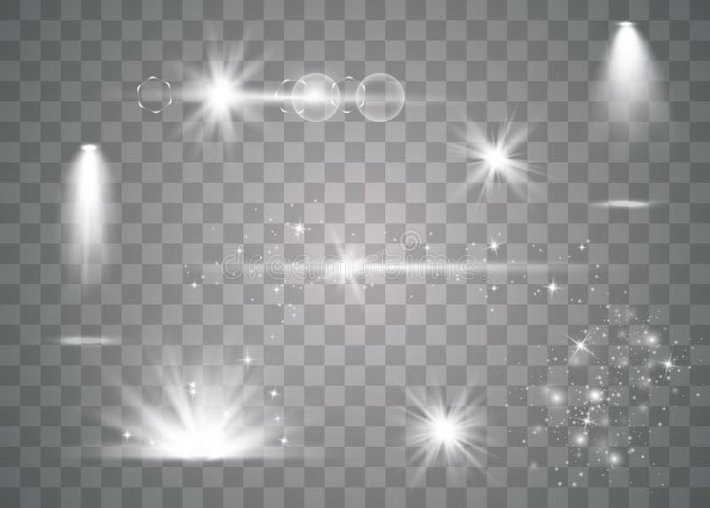 Realistisk linssignalljusuppsättning stock illustrationer