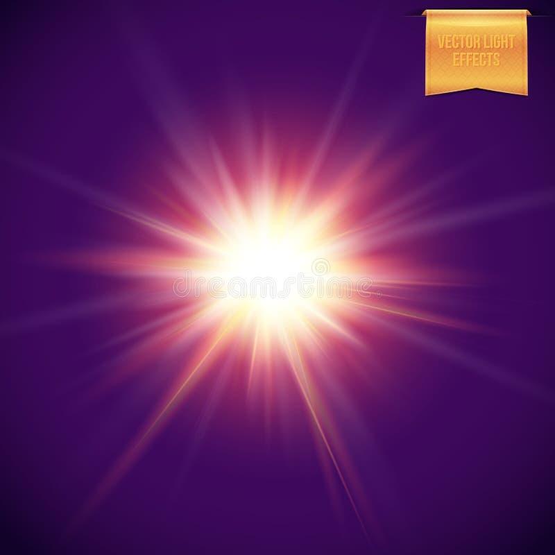 Realistisk, ljus glödande sol, stjärnabristning på mörk bakgrund vektor illustrationer
