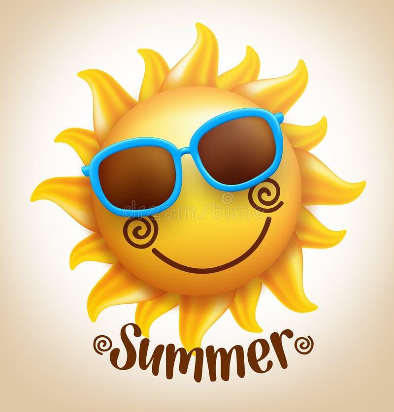 realistisk lycklig le gullig vektor för sol 3D med färgrik solglasögon vektor illustrationer
