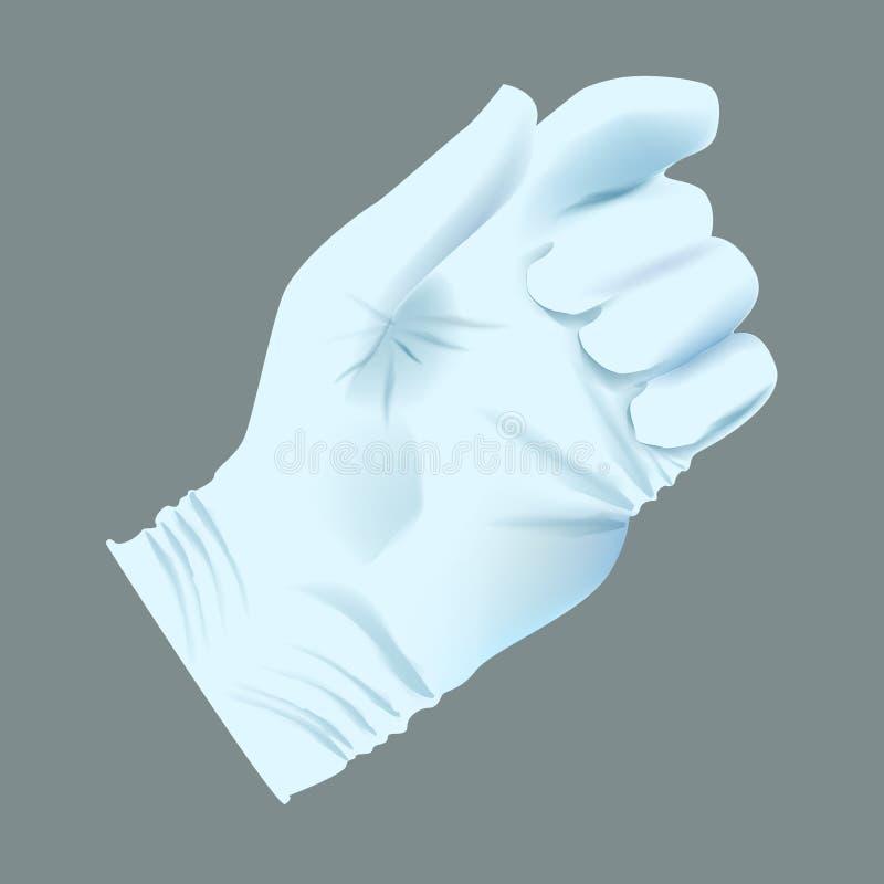 Realistisk mänsklig hand för vektor med hållande position för medicinsk handske vektor illustrationer