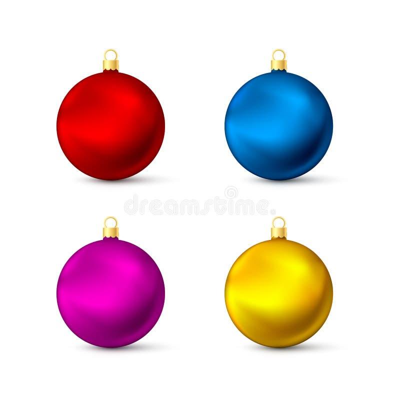 Realistisk mångfärgad julbolluppsättning Färgrika nytt års leksaker Vektorillustration som isoleras på vit stock illustrationer