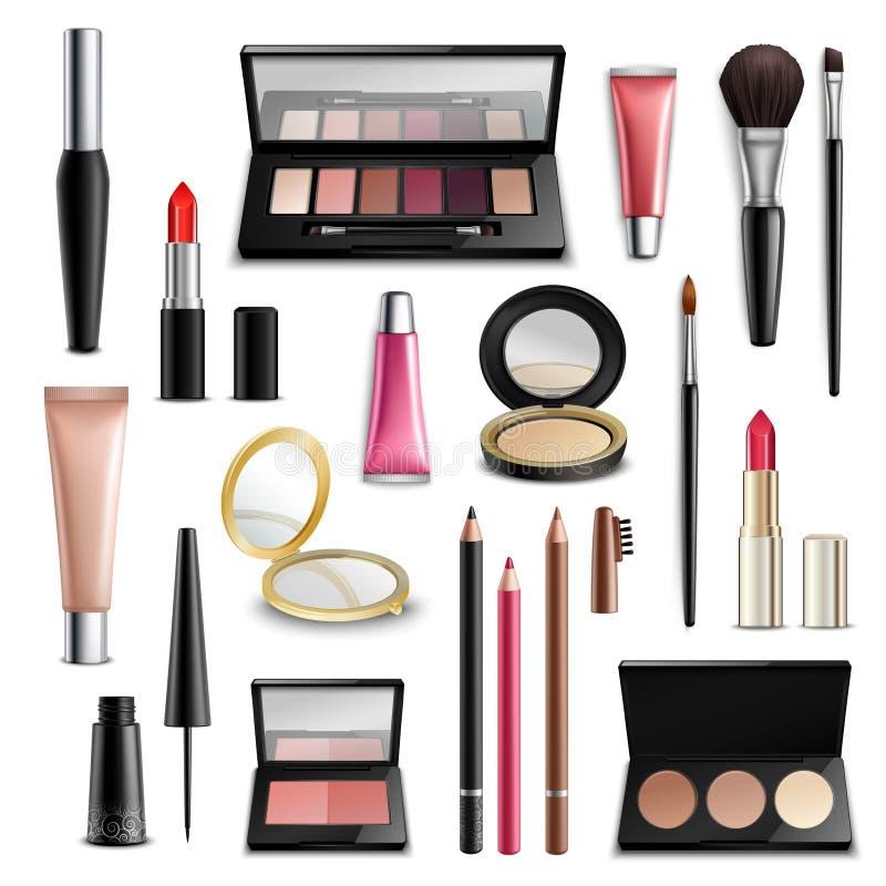 Realistisk makeupskönhetsmedeltillbehör Objektsamling stock illustrationer