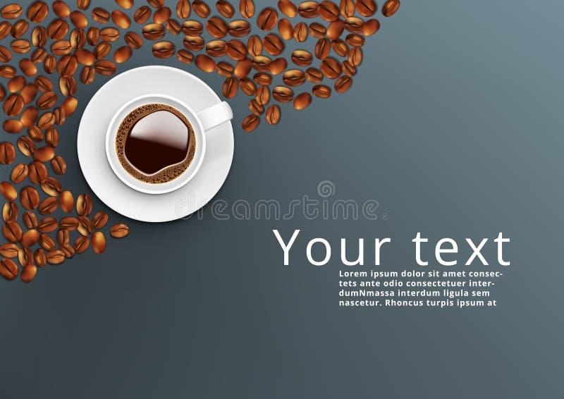 Realistisk mall för bästa sikt för kopp för vitt kaffe stock illustrationer