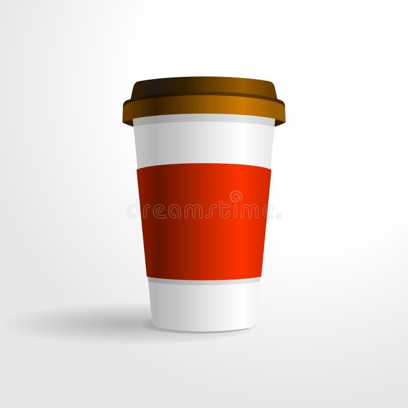 Realistisk mall för vektor för kaffekopp, för din designåtlöje upp vektor illustrationer