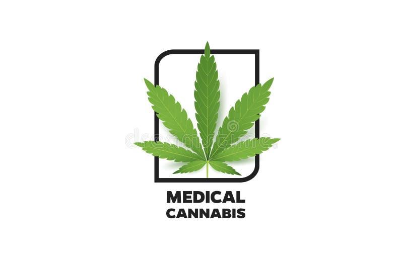 Realistisk marijuanabladsymbol Isolerat på den vita bakgrundsvektorillustrationen Medicinsk cannabis stock illustrationer