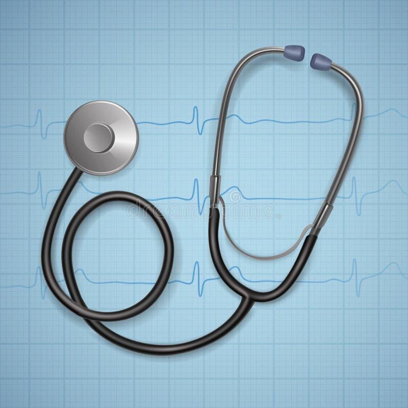 Realistisk medicinsk stetoskop bakgrund med medicinsk utrustning för stetoskop, hälsovårdbegrepp arkivfoton
