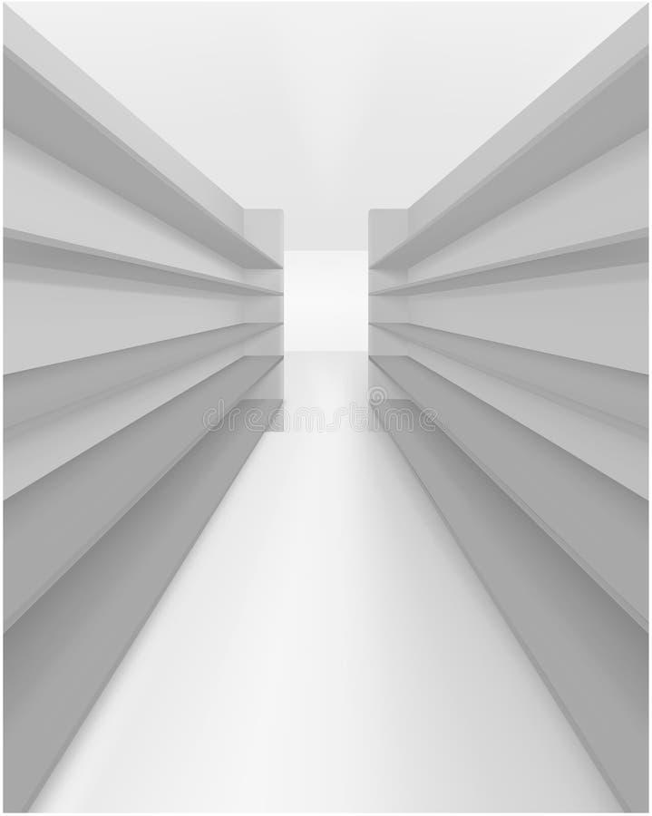 Realistisk metall 3d eller plast- hyllor Ställa ut för shoppar vektor illustrationer