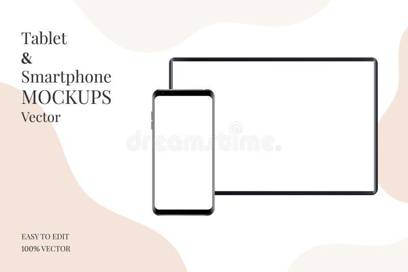 Realistisk minnestavla och smartphone som isoleras på vit bakgrund royaltyfri illustrationer