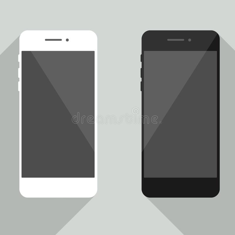 Realistisk mobiltelefonsamling i ny iphonestil Vit- och svartsmartphone med skuggaisola stock illustrationer