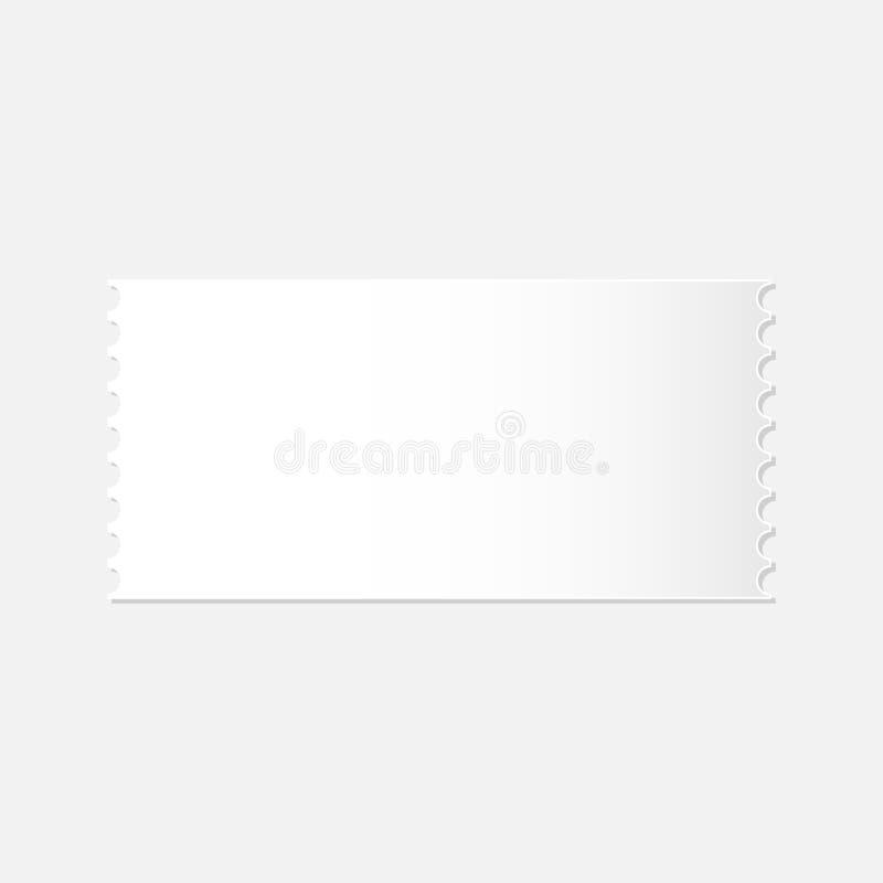 Realistisk modell av den avtagbara tomma vita biljetten royaltyfri illustrationer