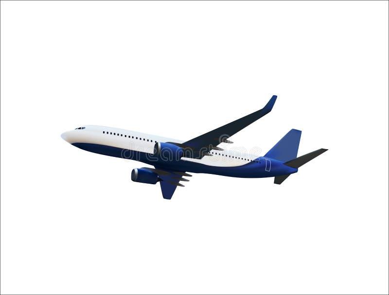 Realistisk modell 3D av ett flygplanflyg i luften av vit och blå färgläggning ocks? vektor f?r coreldrawillustration vektor illustrationer