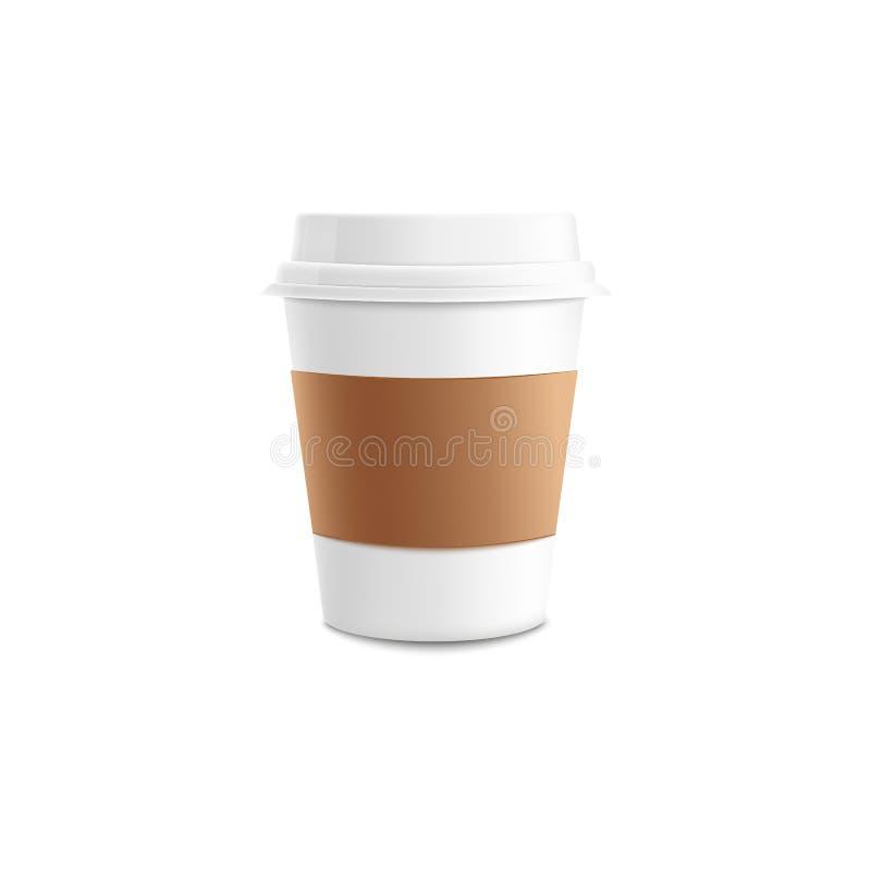 Realistisk modell 3d av kaffekoppen i isolerad vektorillustration vektor illustrationer