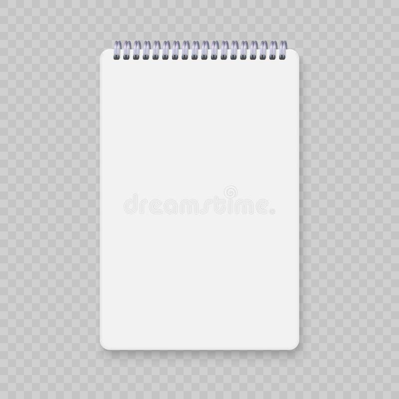 Realistisk modell för spiralanteckningsbok royaltyfri illustrationer