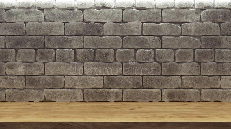 Realistisk modell med trähyllan för tegelstenvägg för garneringdesign Natthimmel med massor av stj?rnor tomt tr? f?r bokhylla Gr? royaltyfri illustrationer
