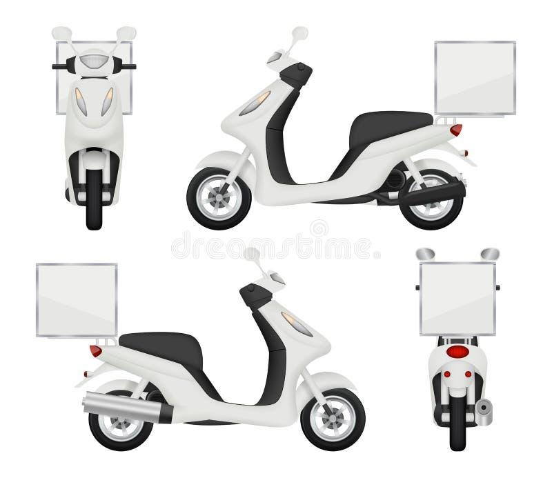 Realistisk Moto cykel Sikter av den isolerade sparkcykeln för transport för vektor 3d för baksida för bästa sida för hemsändninga vektor illustrationer