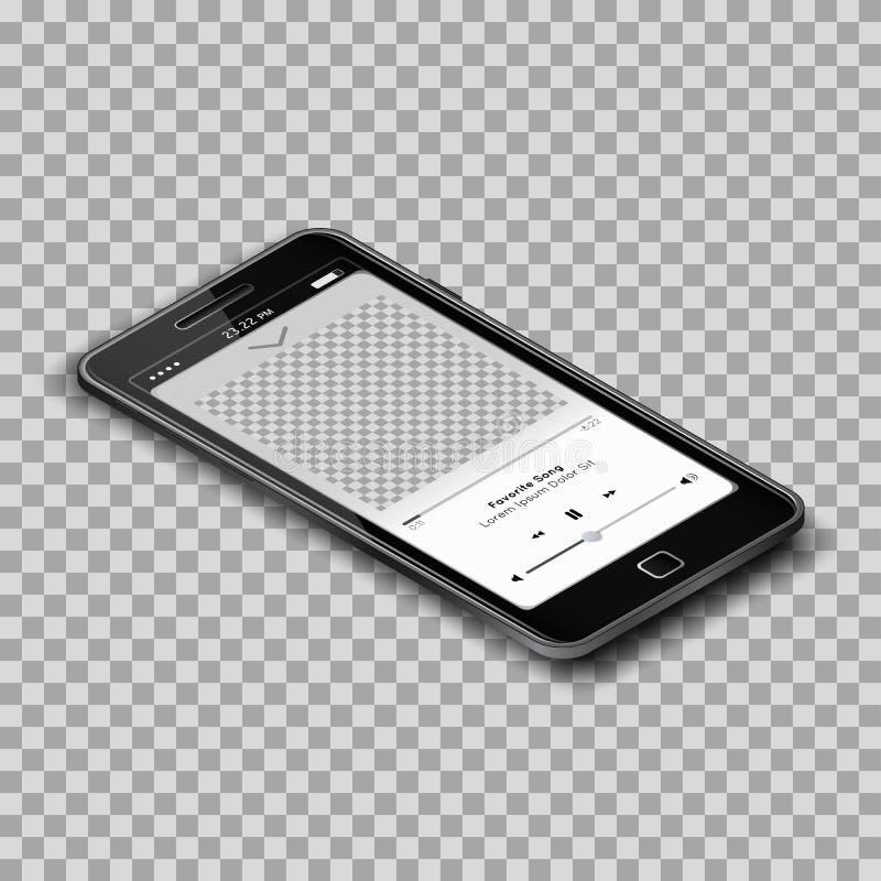 Realistisk musikMp3-spelare på den svarta smartphonen med den tomma skärmen på genomskinlig bakgrund stock illustrationer