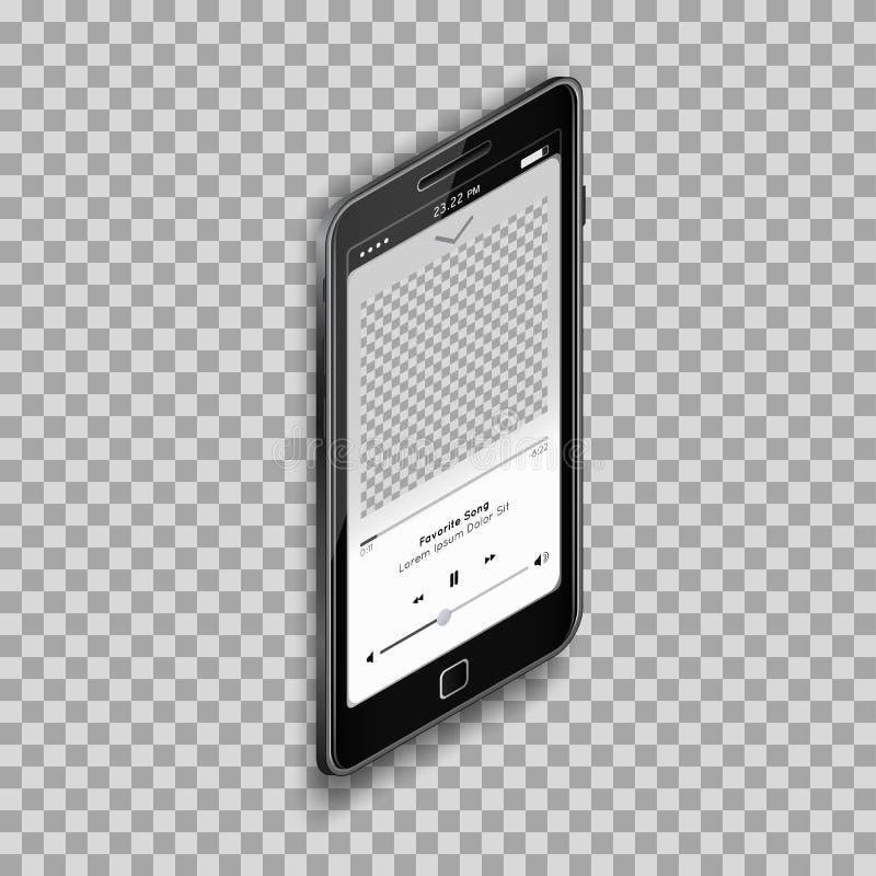 Realistisk musikMp3-spelare på den svarta smartphonen med den tomma skärmen på genomskinlig bakgrund vektor illustrationer
