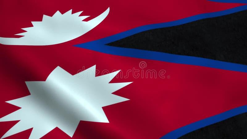Realistisk Nepal flagga stock illustrationer