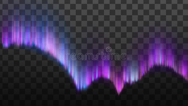 Realistisk nordlig polstjärna Aurora Light Vector vektor illustrationer