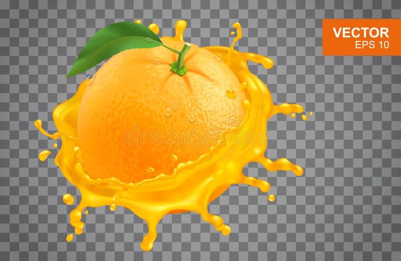 Realistisk ny apelsin och färgstänk av vektorillustrationen för orange fruktsaft stock illustrationer