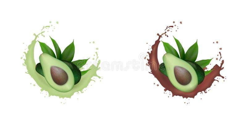Realistisk ny grön avokadofruktfruktsaft, chokladuppsättningfärgstänk Avokadohalva med sidor, i att plaska f?r virvelr?relse orga royaltyfria bilder