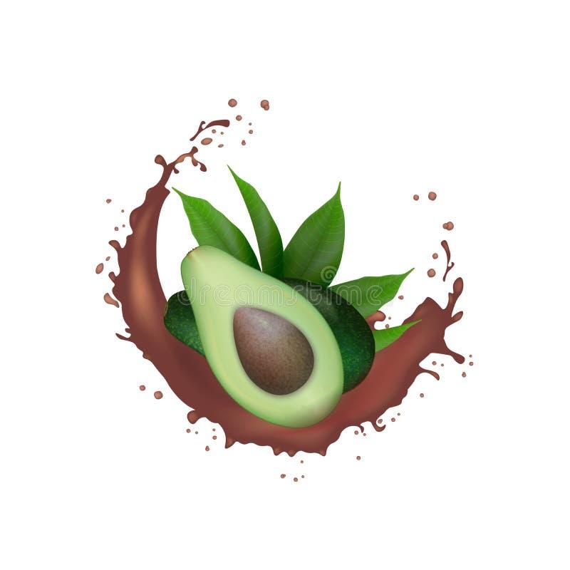 Realistisk ny grön färgstänk för kakao för avokadofrukt Avokadohalva med sidor, i att plaska f?r virvelr?relse Organisk produktpa arkivbild