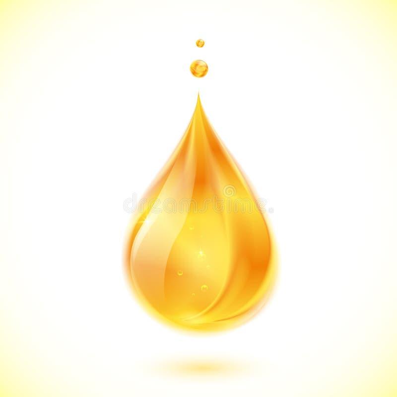 Realistisk olja- eller honungvektordroppe royaltyfri illustrationer