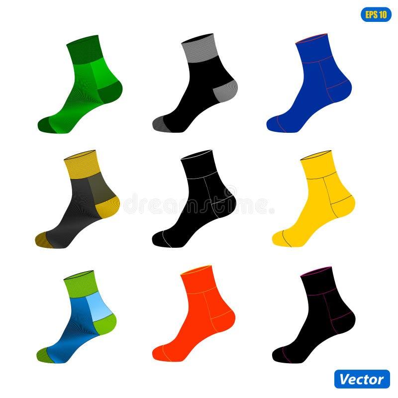 Realistisk orientering av sockor Ett enkelt exempel för mall också vektor för coreldrawillustration vektor illustrationer
