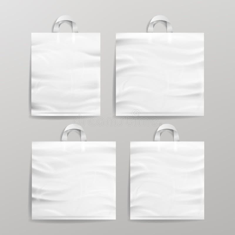 Realistisk påseuppsättning för vit tom återvinningsbar plast- shopping med handtag För slut åtlöje upp upp också vektor för corel royaltyfri illustrationer