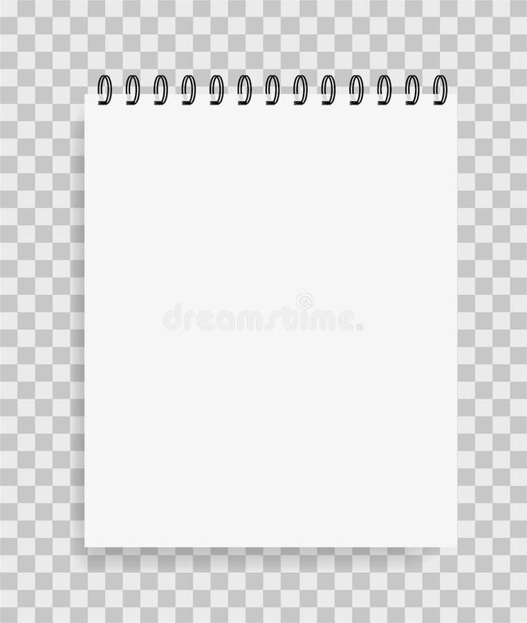 Realistisk pappers- anteckningsbok i modellstil Tom notepad med spiral Mall av den tomma notepaden för trycket, skola, website ve royaltyfri illustrationer