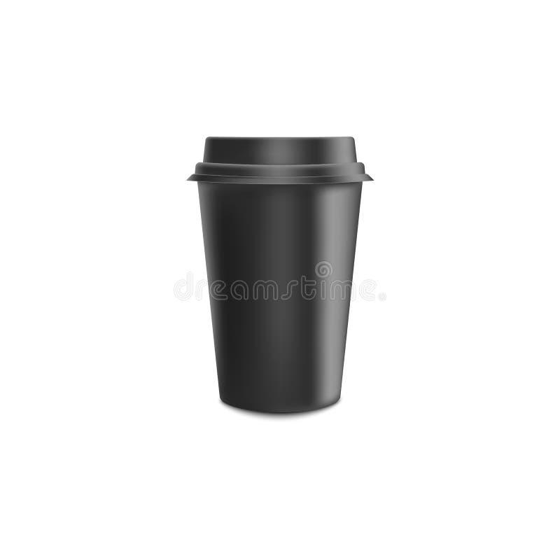 Realistisk pappers- kaffekopp för svart mellanrum med lockmodellen för kafé eller restaurangmärkesidentitet vektor illustrationer