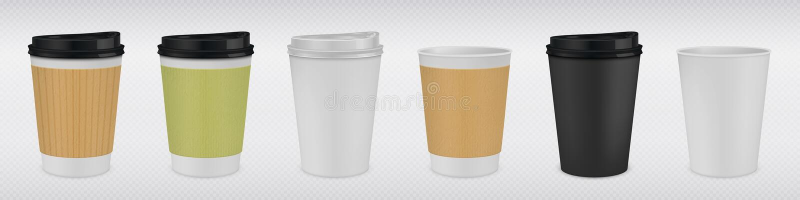 Realistisk pappers- kaffekopp Vita och bruna 3D rånar upp falskt för varma drinkar på genomskinlig bakgrund Plast- te för vektor vektor illustrationer