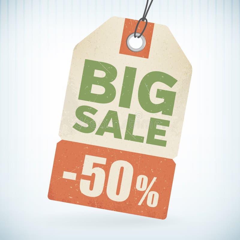 Realistisk pappers- stor försäljning 50 procent av prislapp vektor illustrationer